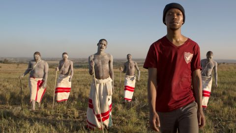 """Nakhane Toure as Xolani with young Xhosa initiates in gay love story """"The Wound."""" <em>(To find out more about ulwaluko and other tribal traditions, scroll through the gallery.)</em>"""