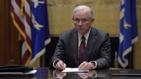 Attorney General Jeff Sessions holds a meeting with the heads of federal law enforcement components at the Department of Justice February 9, 2017 in Washington, DC. Earlier in the day Sessions was sworn in by Vice President Mike Pence.
