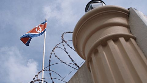 KUALA LUMPUR, MALAYSIA - FEBRUARY 22:  A North Korean flag is seen at the North Korean Embassy compound on February 22, 2017 in Kuala Lumpur, Malaysia. North Korean leader Kim Jong Un's older half-brother Kim Jong Nam died in Malaysia last week after apparently being poisoned at a Kuala Lumpur airport. Malaysia's police said on Wednesday they are seeking a senior official at the North Korean embassy in Kuala Lumpur in connection with the killing of Kim Jong-nam. Mr Kim, the eldest son of the former North Korean leader, Kim Jong-il, was once considered the heir to power in North Korea but fell out of favor in 2001 after he was seized by Japanese authorities at Narita Airport for trying to enter the country on a forged Dominican Republic passport. (Photo by Rahman Roslan/Getty Images)