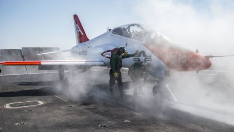ATLANTIC OCEAN (Feb. 9, 2017) A T-45C Goshawk assigned to Carrier Training Wing (CTW) 1 prepares to launch from the flight deck of the aircraft carrier USS Dwight D. Eisenhower (CVN 69) (Ike). Ike is currently conducting aircraft carrier qualifications during the sustainment phase of the Optimized Fleet Response Plan (OFRP). (U.S. Navy photo by Mass Communication Specialist Seaman Apprentice Zach Sleeper)