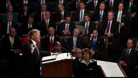 Trump speaks at the beginning of his address.