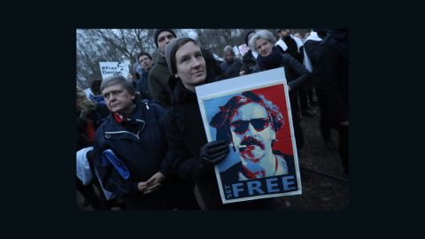 Protesters outside the Turkish Embassy in Berlin Tuesday to demand Yucel's release.