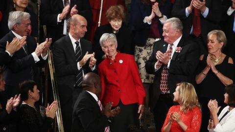 Maureen Scalia, the widow of late Supreme Court Justice Antonin Scalia, is applauded during the speech.