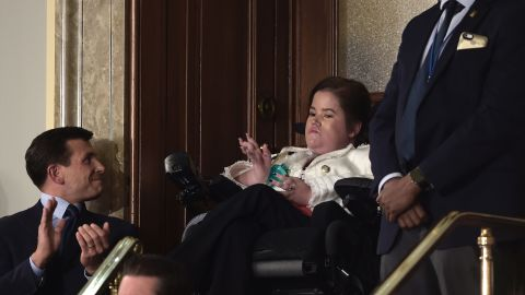 """Trump also recognized Megan Crowley, a college student who, at 15 months old, was diagnosed with Pompe disease and wasn't expected to live past age 5. Her father founded a pharmaceutical company to find a cure. """"Megan's story is about the unbounded power of a father's love for a daughter,"""" Trump said. """"But our slow and burdensome approval process at the Food and Drug Administration keeps too many advances, like the one that saved Megan's life, from reaching those in need."""""""