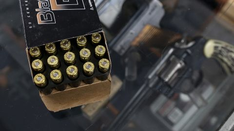 PETALUMA, CA - APRIL 02:  A box of 9mm bullets sits on the counter at Sportsmans Arms on April 2, 2013 in Petaluma, California.  In the wake of the Newtown, Connecticut school massacare, California State lawmakers are introducing several bills that propose taxing and regulating sales of ammunition. Another bill is aimed to require a background check and annual permit fee to purchase any ammunition.  (Photo Illustration by Justin Sullivan/Getty Images)
