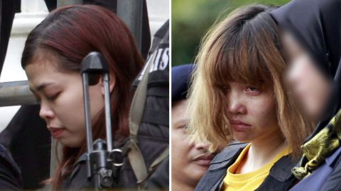 Siti Aisyah from Indonesia (left) and Doan Thi Huong from Vietnam have been charged with Kim's murder.