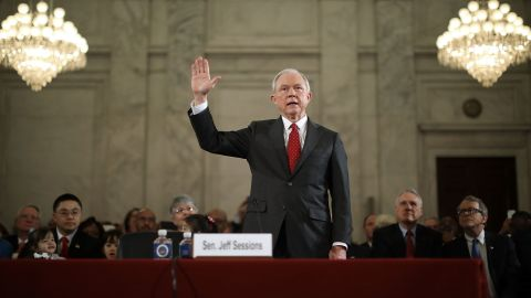 WASHINGTON, DC - JANUARY 10:  Sen. Jeff Sessions (R-AL) is sworn in before the Senate Judiciary Committee during his confirmation hearing to be the U.S. attorney general January 10, 2017 in Washington, DC. Sessions was one of the first members of Congress to endorse and support President-elect Donald Trump, who nominated him for Attorney General.  (Photo by Chip Somodevilla/Getty Images)