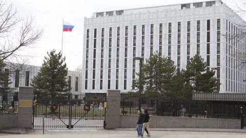 The Russian Embassy in Washington DC, on December 31, 2016.  US President-elect Donald Trump praised Russian President Vladimir Putin for refraining from tit-for-tat expulsions of Americans in response to US punitive measures over alleged Russian interference in the November election. / AFP / CHRIS KLEPONIS        (Photo credit should read CHRIS KLEPONIS/AFP/Getty Images)