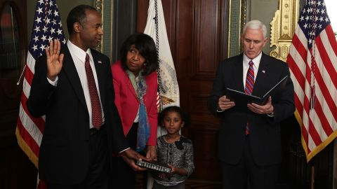 """Ben Carson is joined by his wife, Candy, and his granddaughter Tesora as he is sworn in as the secretary of housing and urban development on March 2. The renowned neurosurgeon and former presidential candidate <a href=""""http://www.cnn.com/2017/03/02/politics/ben-carson-confirmed-as-hud-secretary/"""" target=""""_blank"""">was confirmed</a> by a vote of 58-41."""