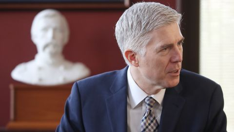 Supreme Court nominee Neil Gorsuch visits the Washington office of US Sen. Angus King on Wednesday, March 1. Gorsuch has been visiting with senators from both parties.