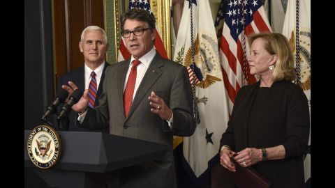 """New Energy Secretary Rick Perry speaks at his swearing-in ceremony in Washington on Thursday, March 2. The former Texas governor -- flanked by his wife, Anita, and Vice President Mike Pence -- <a href=""""http://www.cnn.com/2017/03/02/politics/ben-carson-confirmed-as-hud-secretary/"""" target=""""_blank"""">was confirmed</a> by a Senate vote of 62-37. <a href=""""http://www.cnn.com/2017/01/10/politics/gallery/trump-cabinet-confirmation-hearings/index.html"""" target=""""_blank"""">See Trump's nominees and their confirmation hearings</a>"""