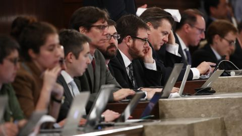 Members of the media look on as President Trump addresses a joint session of Congress on Tuesday, February 28.