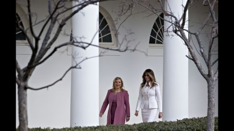 """The first lady walks with Sara Netanyahu at the White House in February 2017. Israeli Prime Minister <a href=""""http://www.cnn.com/2017/02/14/politics/trump-israel-netanyahu-washington-visit/"""" target=""""_blank"""">Benjamin Netanyahu was in Washington</a> to strengthen US-Israel relations after some strained years during the Obama administration."""