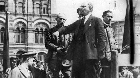 Vladimir Ilyich Lenin gives a speech from the back of a vehicle in a Russian street, November 1, 1917.