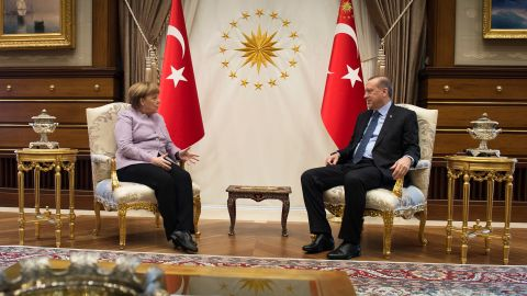 In this handout photo provided by the German Government Press Office (BPA), Turkish President Recep Tayyip Erdogan and Federal Chancellor of Germany Angela Merkel during a meeting in Erdogan's office on February 2, 2017 in Ankara, Turkey.  (Photo byGuido Bergmann/Bundesregierung/ Getty Images)