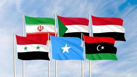 Flags from left to right: Syria, Iran, Somalia, Sudan, Libya and Yemen.