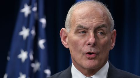Homeland Security Secretary John Kelly speaks on visa travel at the US Customs and Border Protection Press Room in the Reagan Building on March 6, 2017 in Washington, DC.