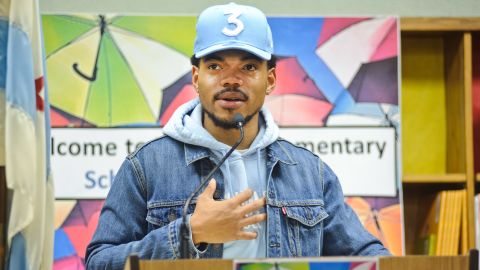 Chance The Rapper holds a press conference and donates $1 million to the Chicago Public School Foundation at Westcott Elementary School on March 6, 2017 in Chicago, Illinois.