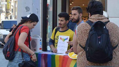 Ramtin Zigorat campaigning for LGBT rights in Turkey.