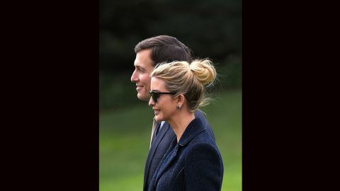 Jared Kushner walks with his wife, Ivanka Trump, to board Marine One at the White House in Washington, on March 3, 2017.