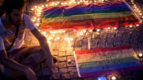 Zigorat at a candlelight vigil in solidarity with Orlando shooting victims.