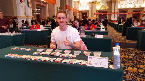 Alex Mullen memorized the order of over 28 decks of cards at the 2015 World Memory Championships in Chengdu, China.