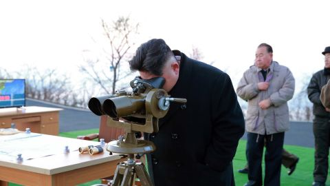"""This undated picture released by North Korea's Korean Central News Agency (KCNA) via KNS on March 7, 2017 shows North Korean leader Kim Jong-Un supervising the launching of four ballistic missiles by the Korean People's Army (KPA) during a military drill at an undisclosed location in North Korea.Nuclear-armed North Korea launched four ballistic missiles on March 6 in another challenge to President Donald Trump, with three landing provocatively close to America's ally Japan. / AFP PHOTO / KCNA VIA KNS / STR / South Korea OUT / REPUBLIC OF KOREA OUT   ---EDITORS NOTE--- RESTRICTED TO EDITORIAL USE - MANDATORY CREDIT """"AFP PHOTO/KCNA VIA KNS"""" - NO MARKETING NO ADVERTISING CAMPAIGNS - DISTRIBUTED AS A SERVICE TO CLIENTSTHIS PICTURE WAS MADE AVAILABLE BY A THIRD PARTY. AFP CAN NOT INDEPENDENTLY VERIFY THE AUTHENTICITY, LOCATION, DATE AND CONTENT OF THIS IMAGE. THIS PHOTO IS DISTRIBUTED EXACTLY AS RECEIVED BY AFP.  / STR/AFP/Getty Images"""