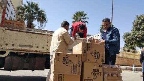 Truckloads of supplies arrive in the churches and shelters processing and accommodating the hundreds of Christians that left Al-Arish.