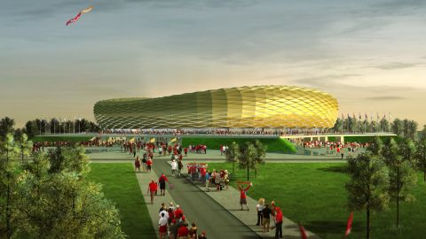 Built in the heart of Kaliningrad on Oktyabrsky Island -- a section of land sandwiched between Poland and Lithuania left largely untouched until its selection as a World Cup venue -- the Kaliningrad stadium is loosely based on the design of Bayern Munich's Allianz Arena.