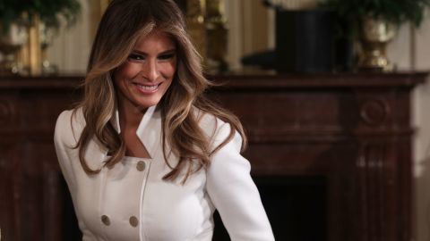 US first lady Melania Trump arrives at the East Room of the White House prior to a joint news conference February 15, 2017 in Washington, DC.