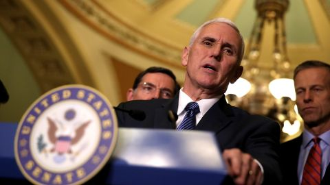 Vice President Mike Pence speaks to reporters during a news conference on Capitol Hill following a policy lunch on March 7, 2017 in Washington, DC.