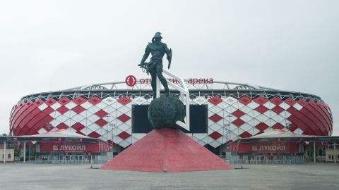"""Built to host Spartak Moscow -- the """"people's team"""" which has made do without its own venue for almost a century -- the 43,298-seater Spartak Stadium will go on proving its worth long after the World Cup. The arena's facade features hundreds of red and white diamonds representing Spartak's logo, which change color when the Russian national side plays there."""