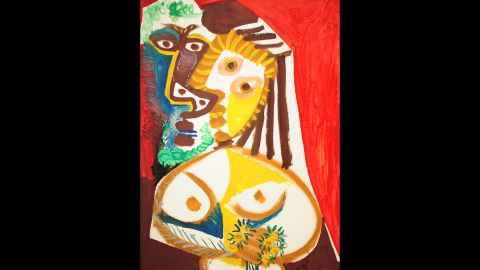 """That didn't stop Picasso from producing canvasses of vivid and explosive color, such as """"Homme et Femme au Bouquet,"""" shown here."""