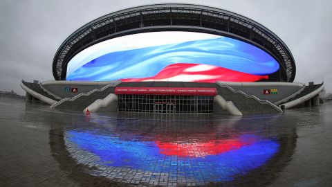Designed by the same firm of architects as Wembley and Arsenal's Emirates Stadium, Kazan Arena was constructed to blend seamlessly into the surrounding landscape. Viewed from above, it is said to resemble a water-lily on the banks of the adjacent Kazanka river. The front of the stadium is dominated by a high definition screen with a total area of 3,700 meters -- the largest of its kind in the world.