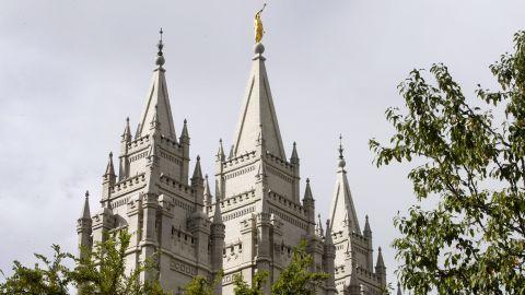 Historic Mormon Salt Lake Temple sits on Temple Square in Salt Lake City, Utah.