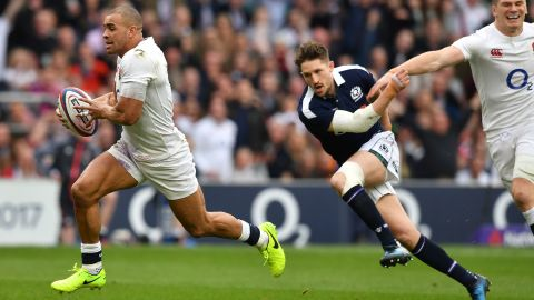 And so it proved ... Jonathan Joseph scoring three tries in an impressive England performance.