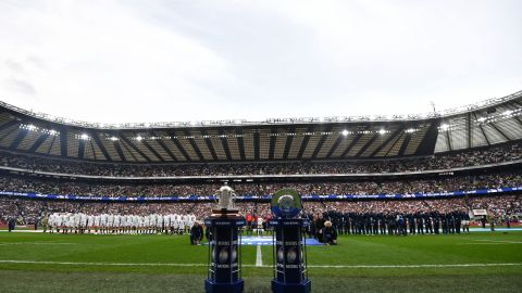 England's win ensured Eddie Jones' side secured the Calcutta Cup (left) and Triple Crown trophies. The Calcutta Cup match between England and Scotland was first contested in 1897 in Edinburgh.