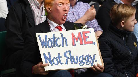 A fan dresses up as Donald Trump at Twickenham.
