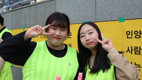 """""""Today feels like a festival, everyone is happy,"""" said Mun Ha-neul (left) and Park Hyun-jin (right), both 17, who were celebrating Park's ouster."""