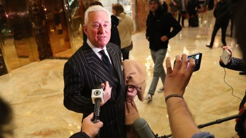 Roger Stone speaks to the media at Trump Tower on December 6, 2016 in New York City. Potential members of President-elect Donald Trump's cabinet have been meeting with him and his transition team over the last few weeks.