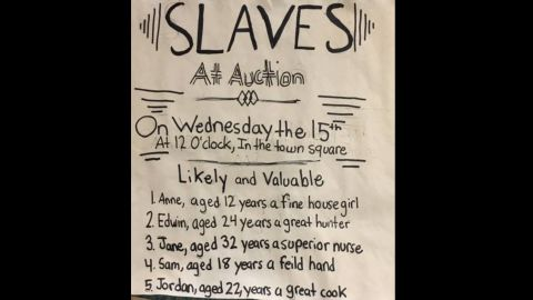 A depiction of an ad for a 19th-century slave auction.