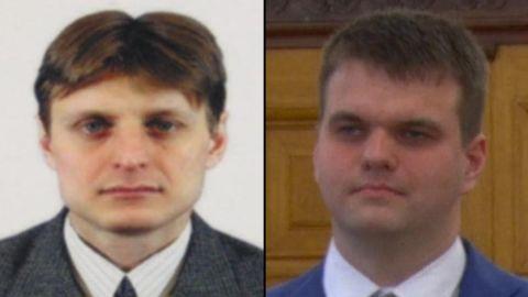 Igor Anatolyevich Sushchin and Dmitry Aleksandrovich Dokuchaev  LEFT:  https://www.fbi.gov/wanted/cyber/igor-anatolyevich-sushchin  RIGHT: https://www.fbi.gov/wanted/cyber/dmitry-aleksandrovich-dokuchaev