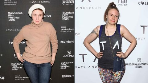 """""""Girls"""" star Lena Dunham showed off a slimmer physique in March 2017 on the red carpet for the opening of celebrity fitness trainer Tracy Anderson's new studio in New York City."""