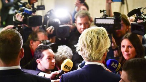 PVV leader Geert Wilders speaks to the press during election night in the Hague, on March 15, 2017. The Liberal party of Dutch Prime Minister Mark Rutte was set to win the most seats in Wednesday's elections, forcing far-right Geert Wilders into second place along with two other parties,  the Christian Democratic Appeal and the Democracy party D66, exit polls predicted. / AFP PHOTO / ANP / Robin Utrecht / Netherlands OUT - Belgium OUT        (Photo credit should read ROBIN UTRECHT/AFP/Getty Images)