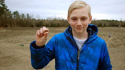 Kalel Langford with his 7.44 carat diamond.