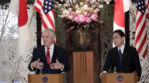 """U.S. Secretary of State Rex Tillerson, left, speaks beside Japanese counterpart Fumio Kishida, right,  during a joint press conference after their bilateral meeting at Foreign Ministry's Iikura guest house in Tokyo, Thursday, March 16, 2017.  Tillerson said Thursday cooperation with allies Japan and South Korea is """"critical"""" to addressing the threat from North Korea's nuclear and missile programs. (AP Photo/Eugene Hoshiko)"""