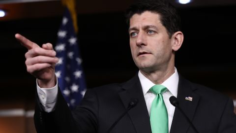 WASHINGTON, DC - MARCH 16:  U.S. Speaker of the House Paul Ryan (R-WI) answers questions during his weekly news conference at the U.S. Capitol March 16, 2017 in Washington, DC. Ryan answered a range of questions relating to the American Health Care Act.  (Photo by Win McNamee/Getty Images)