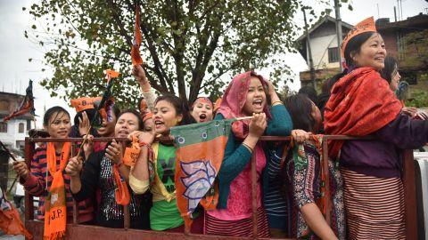 Supporters of Modi's BJP celebrate in Uttar Pradesh.