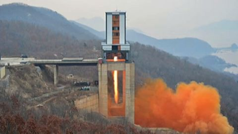 North Korea says it successfully tested a high-thrust rocket engine.