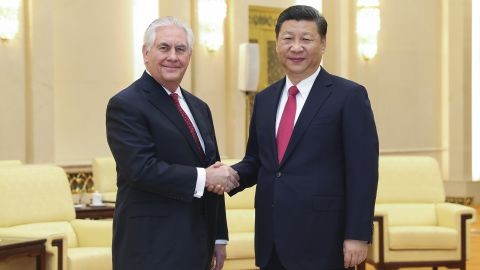 China's President Xi Jinping (R) shakes hands with US Secretary of State Rex Tillerson (L) before their meeting at the Great Hall of the People in Beijing on March 19, 2017. Tillerson met Xi on March 19 just hours after a North Korean rocket engine test added new pressure on the big powers to address the threat from Pyongyang. / AFP PHOTO / POOL / Lintao Zhang        (Photo credit should read LINTAO ZHANG/AFP/Getty Images)